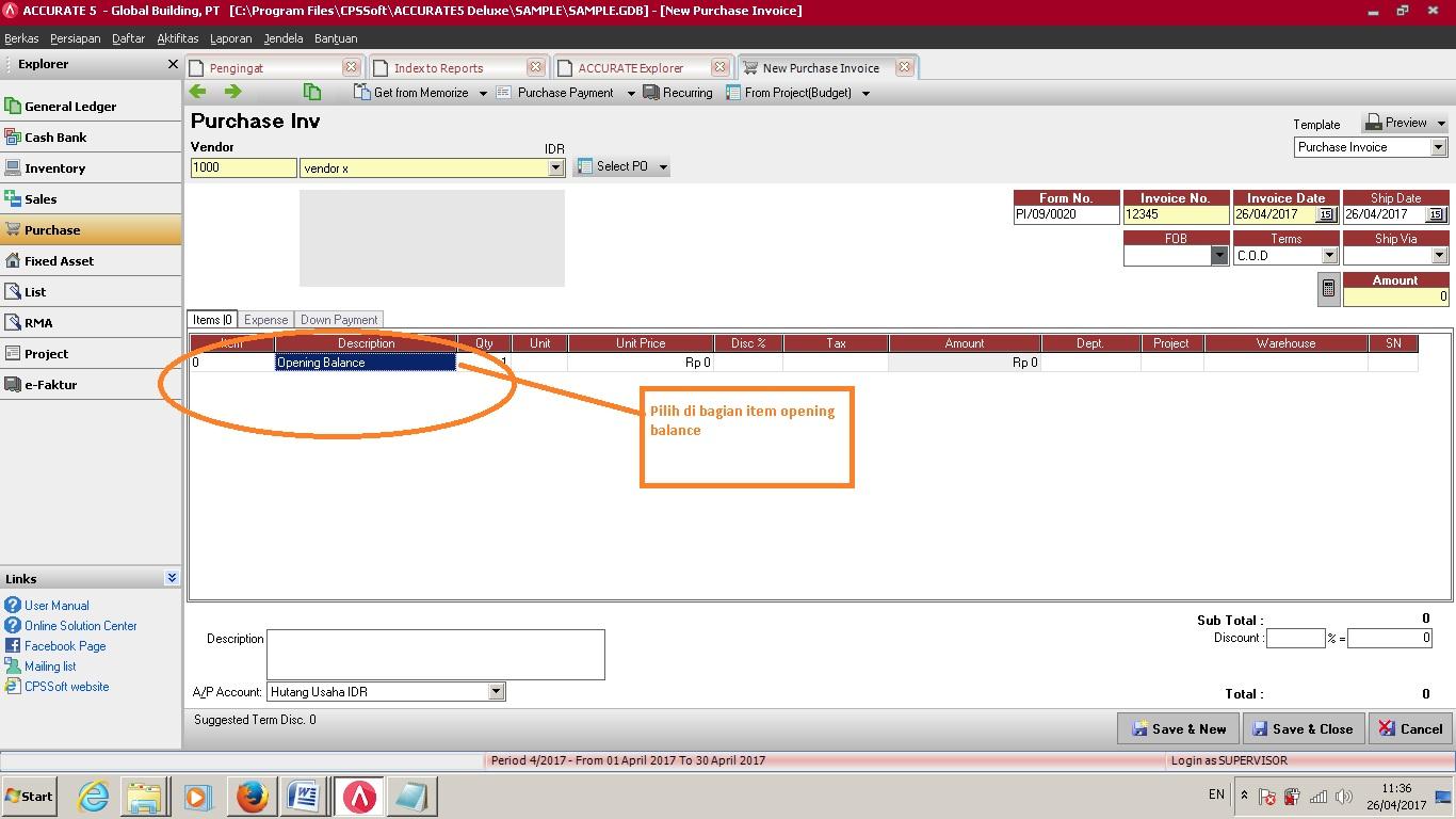 uang muka Pembelian memotong invoice lainnya di Software Akuntansi Accurate