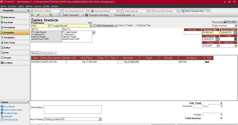 Software Akuntansi Accurate bidang Usaha Counter Handphone