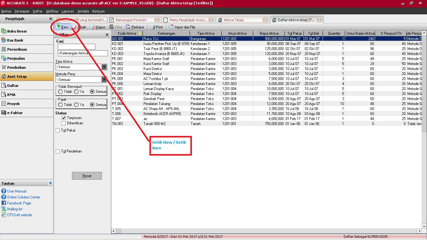 Pencatatan saldo awal fixed asset di software akuntansi Accurate