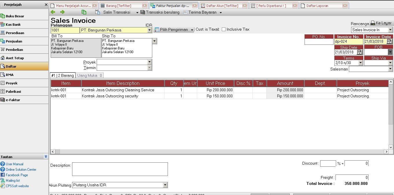Software Akuntansi Accurate Untuk Bidang Usaha Jasa Outsorcing