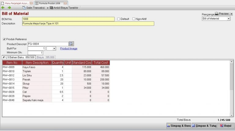 Bill Of Material Accurate Accounting Software ver. 5 Enterprise