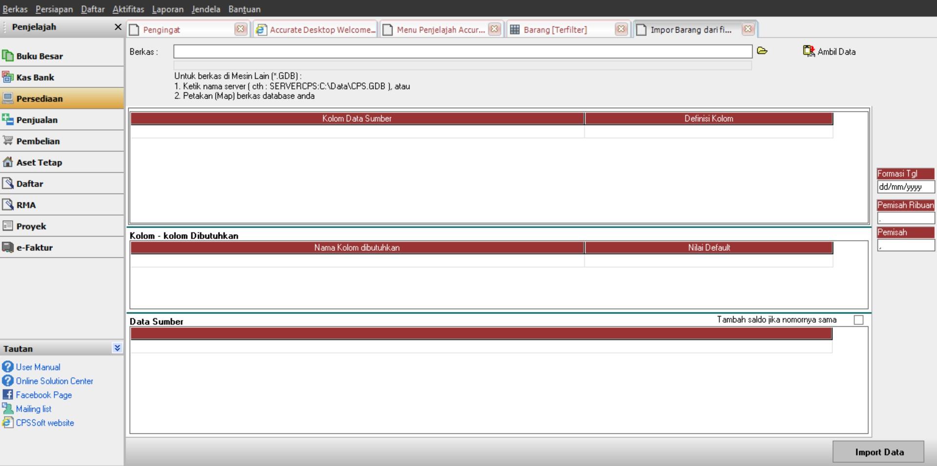 EXPORT IMPORT MASTER DATA KE ACCURATE | IVAN ( 087759171799 )